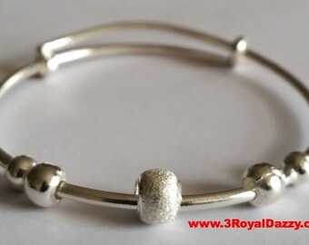 Handmade Anti Tarnish 925 Sterling Silver 3 Hoops Newborn Baby Adjustable Bangle
