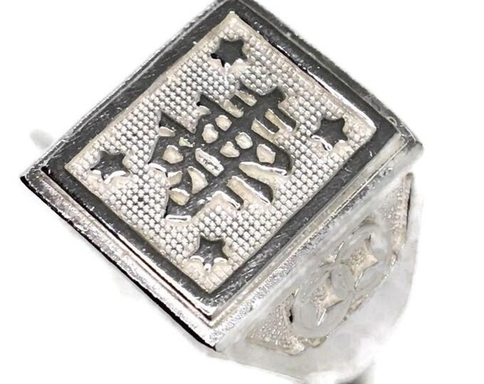 wealth Men ring Anti-Tarnish Silver Band (Size  7 . 25)