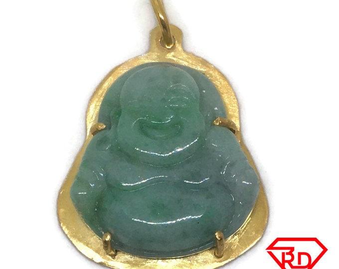 Medium Buddha green Jade Pendant layered 18K Yellow gold