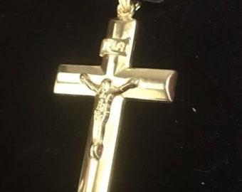 Jesus christ crucifix cross 14k yellow gold layer on .925 silver pendant charm