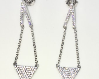 Brand New White Gold on 925 Solid Sterling Silver Chained Hanging Triangle white round CZ Dangle Drop studs Earrings ( 13 . 5 mm )