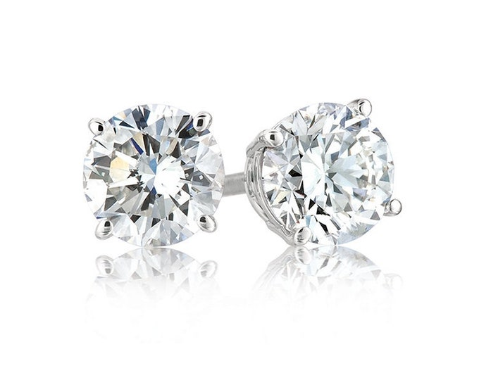 Platinum layered sterling silver round cut 1ct cz unisex prong setting stud earrings