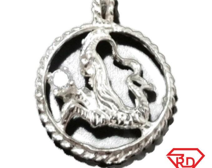Astrology Zodiac Capricorn Horoscope Birthday Anti Tarnish .925 Sterling Silver Pendant