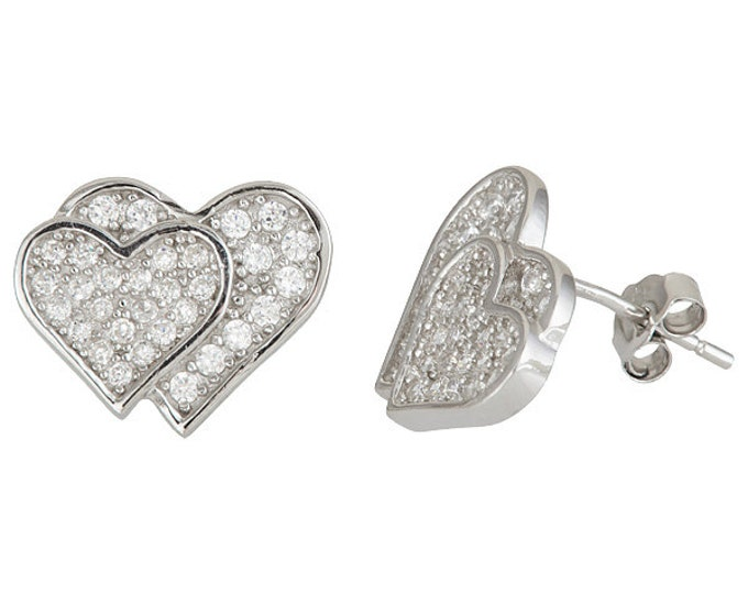 Heart on heart 18k white gold .925 Sterling Silver CZ Earrings