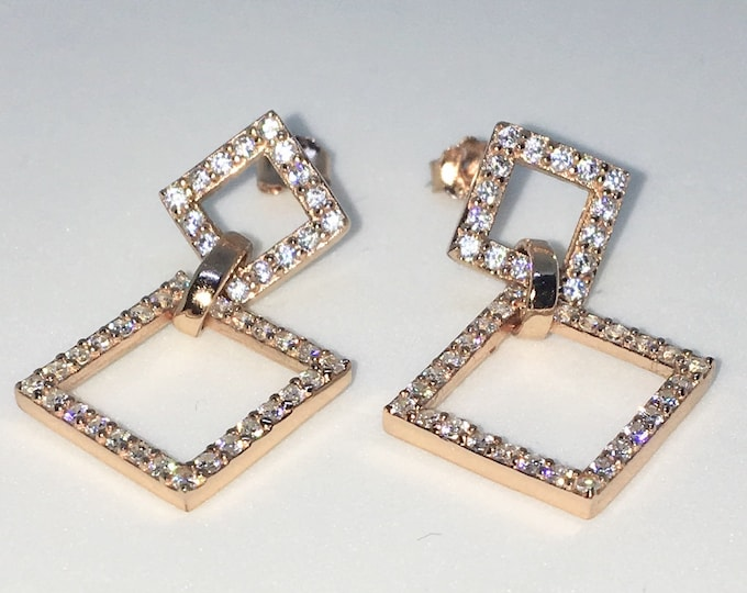New 14k Pink Gold on 925 Sterling Silver Tilted Squares White CZ Dangle Drop Studs Earrings ( 17 . 5  mm )
