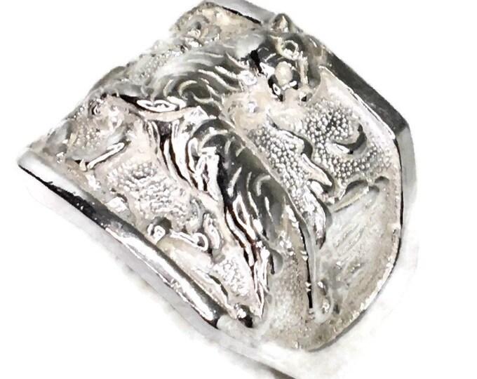 Tiger Men ring Anti-Tarnish Silver Band (Size  7 )