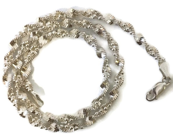 Brand New Anti-tarnish Silver Necklace 16 inch Singapore and beads chain with lobsterclaw clasp