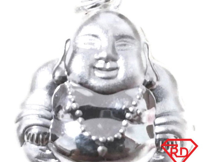 Brand New Exceptional Smiling Reversible Buddha .999 Solid Silver Hollow Pendant