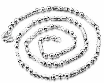 """Men Women Children Handmade solid .990 Fine Silver round Ball & Bar Necklace 4 mm 24"""""""
