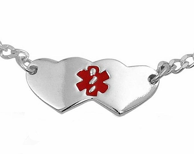 """Sterling Silver 20mm Double Heart Children Medical Alert Bracelet Adjustable 5""""-6"""""""