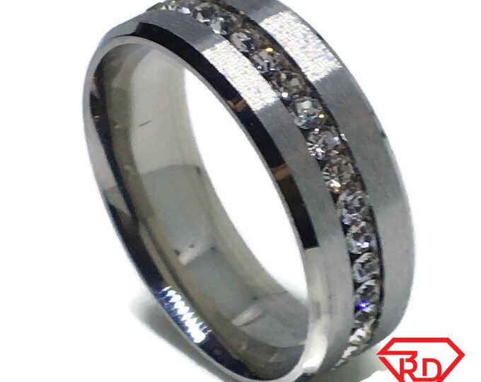 8 . 0 mm Brand New White Gold Plated with White Gems in Center Line on Stainless Steel ring band