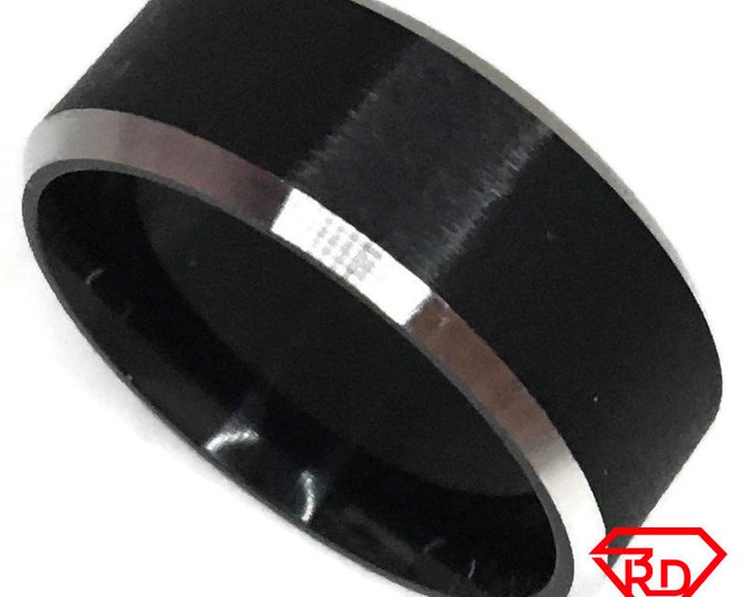 Ring band black and White gold on Steel (size 8)