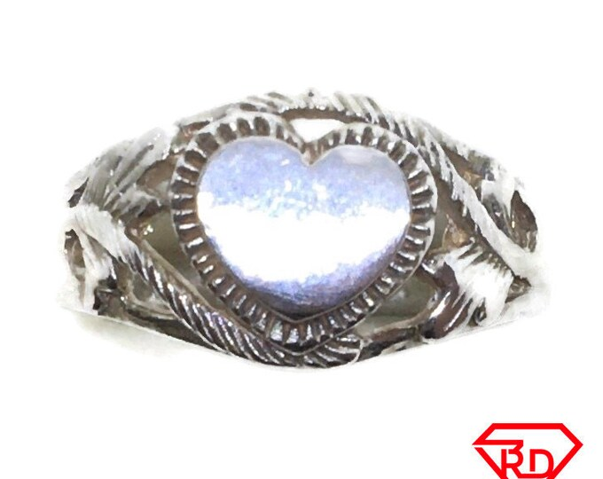 Heart Stamp Ring 14k white gold on Silver (size 6)