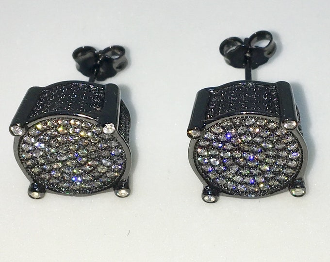 New 14k Black Gold on 925 Sterling Silver Caged Circle with Center White CZ and black side Extra Large Studs Earrings ( 12 . 7  mm )