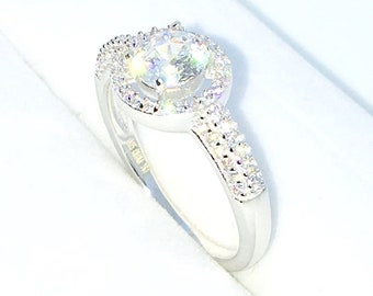 New Handcraft White Gold Plated on Sterling Silver engagement ring band with 4 prong white round CZ and halo ring CZ