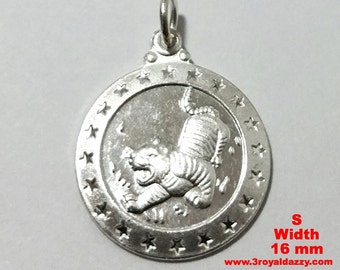 Small Chinese Zodiac Horoscope 999 fine Silver Round Year of Tiger Pendant charm