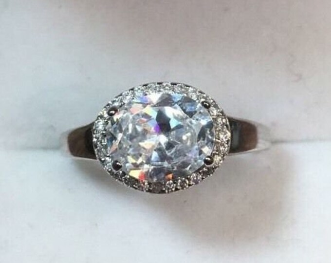 New royal dazzy exclusive 2.0ct oval cubic zirconia engagement wedding ring s7.5