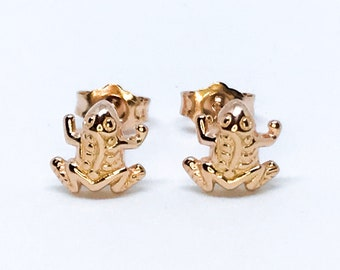 14K Rose Gold on Sterling Silver Frog Earrings