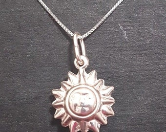 New anti tarnished 925 sterling silver cute sun pendant charm with free chain