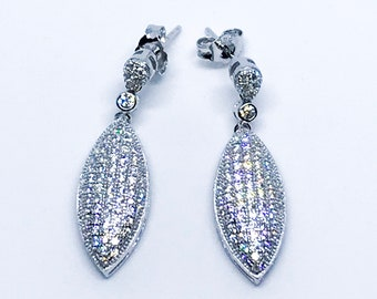 14k White Gold on Sterling Silver Almond Shaped Dangling Earrings