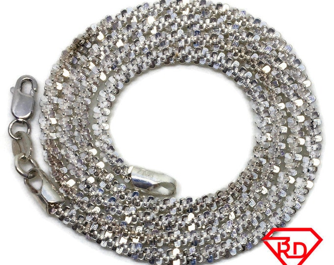 Artistic spiky Chain 16 inch Necklace 925 Solid Silver
