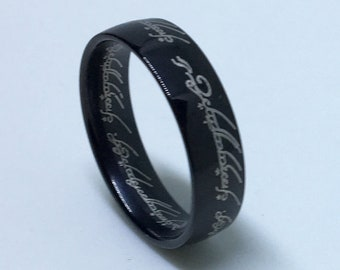 5 . 8 mm Brand New Gothic Black Plated with Arabic Writing both inside and outside on Stainless Steel ring band