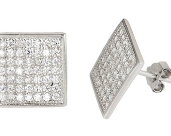 14k White gold layer Large size Square CZ .925 Sterling Silver Micro Pave Earrings