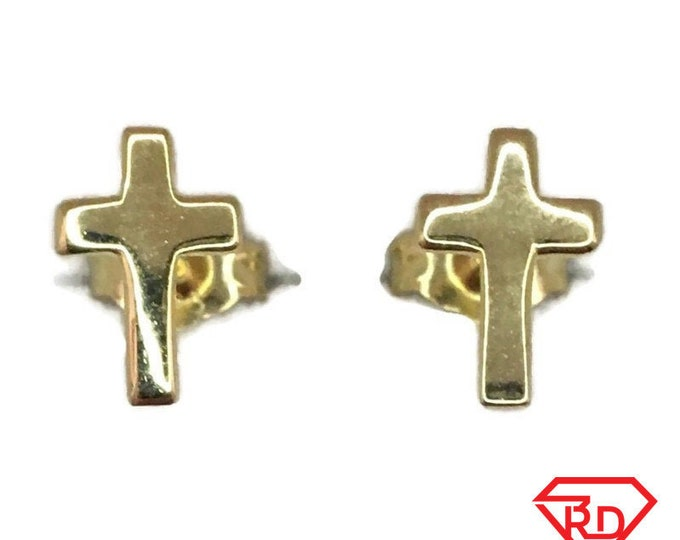 Brand New Yellow gold on 925 Silver Studs Earrings Small smooth cross ( 6 . 1 mm )