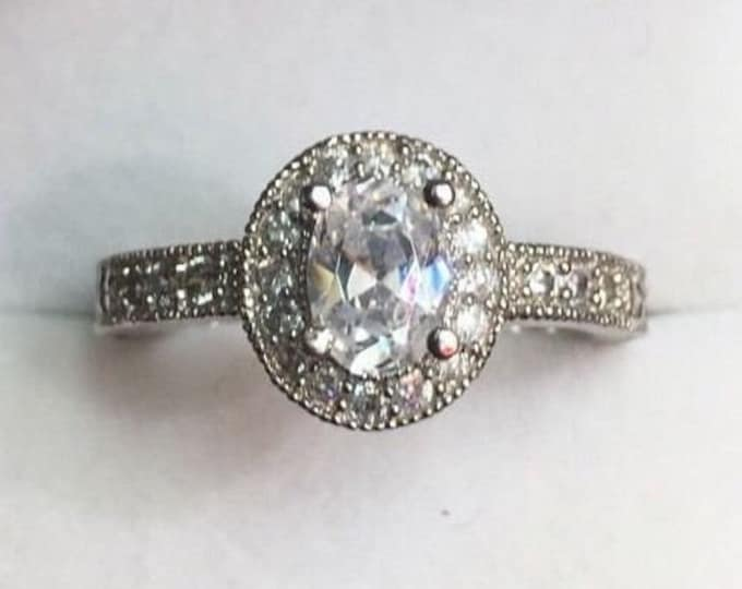 New oval halo cubic zirconia handmade engagement ring size-7