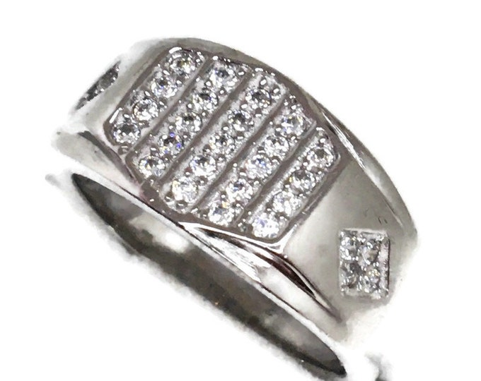 Cubic Zirconia ring hexagon white gold on Silver (9 . 75 )