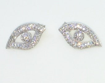 14k White Gold Layered Eye shaped CZ on 925 Solid Sterling Silver Stud Earrings ( 10 . 7 mm )