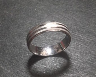 New 14k white gold layer on silver handmade wedding edge cut ring band 5.0mm s-7