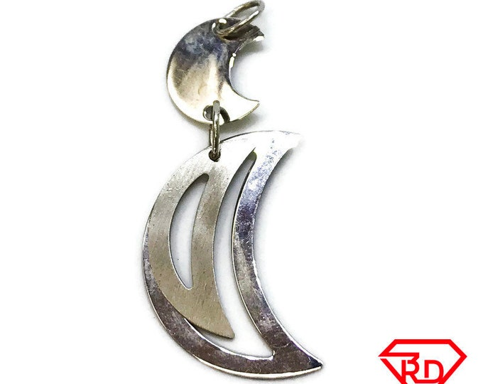 NEW .925 Sterling Silver Thin Layer Moon Pendant