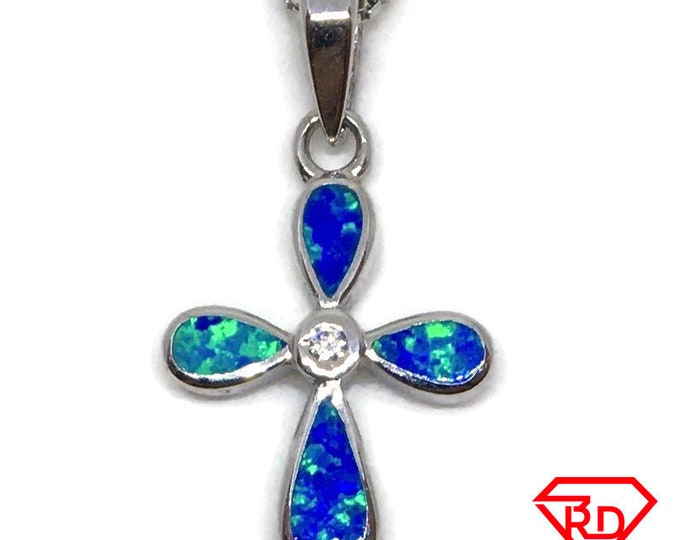 Sea shell Cross and CZ pendant white Gold on silver