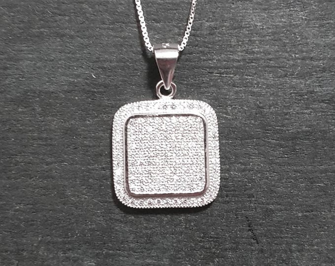 New 14k White Gold On 925 Square Classy Pendant Charm