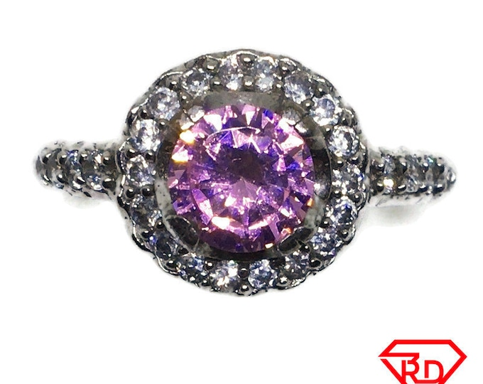 Halo Pink Round CZ White gold on silver Ring S8