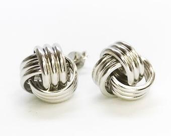 NEW .925 Sterling Silver Yarn Shaped Design Stud Earrings