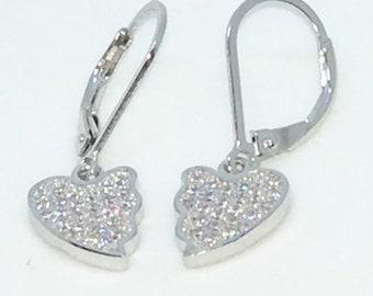14k White Gold Layered Broken Heart Shaped CZ on 925 Solid Sterling Silver Dangle Drop Earrings ( 8 . 8 mm )