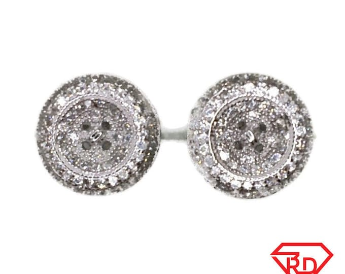 Brand New white gold on 925 Silver Studs Earrings Medium Round Button with white round CZ ( 11 . 8 mm )