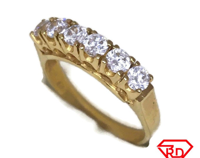 Row of white CZ ring band 14K Real Yellow gold S5