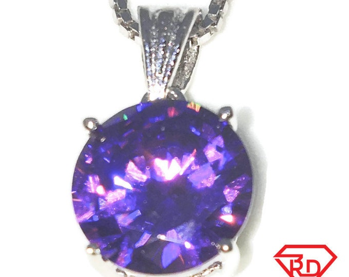 New White Gold on 925 Sterling Silver Pendant Large Four Prong Basket Birthstone with round Purple CZ and Silver 16 Inch Chain ( 9 . 9 mm )