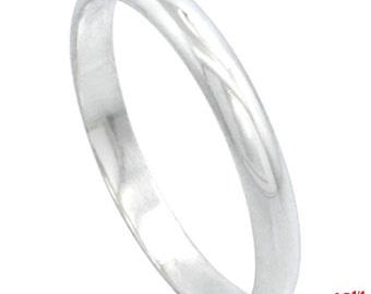 Italy 14k white gold layered on 925 silver high polished wedding band ring 2.8mm Size 12.25