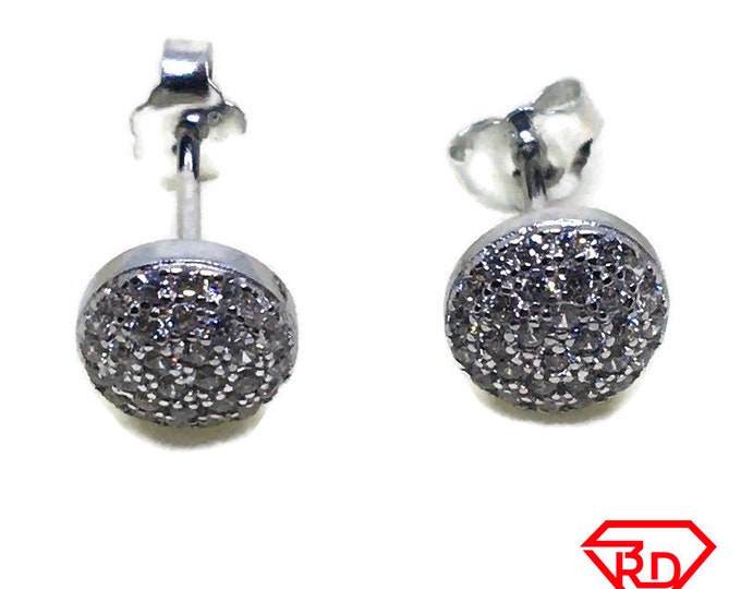 Small Round white CZ stud Earrings White gold layer