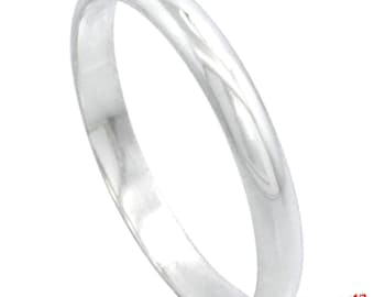 Italy 14k white gold layered on.925 silver high polished wedding band ring 3mm Size 11.50