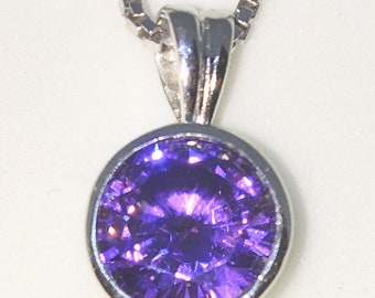 New White Gold on 925 Sterling Silver Pendant Thin Edge Bezel Basket Birthstone with round Purple CZ and Silver 16 Inch Chain ( 9 . 1 mm )