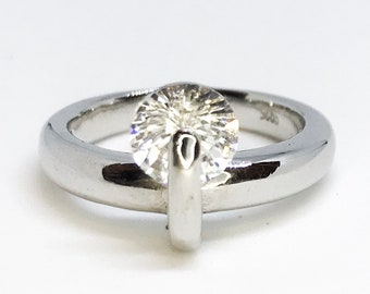 NEW 14K White Gold Layered On Sterling Silver Spinning Stone Ring S7