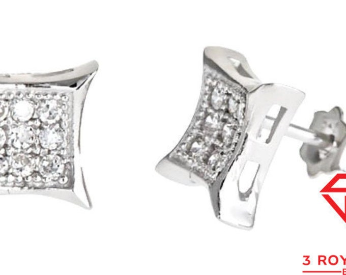 14k white gold layer on Small Square micro pave CZ 925 Sterling Silver Stud Earrings