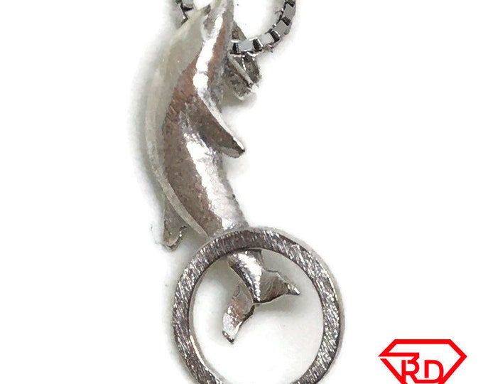 Dolphin on Hoop tiny charm pendant 925 Solid Silver