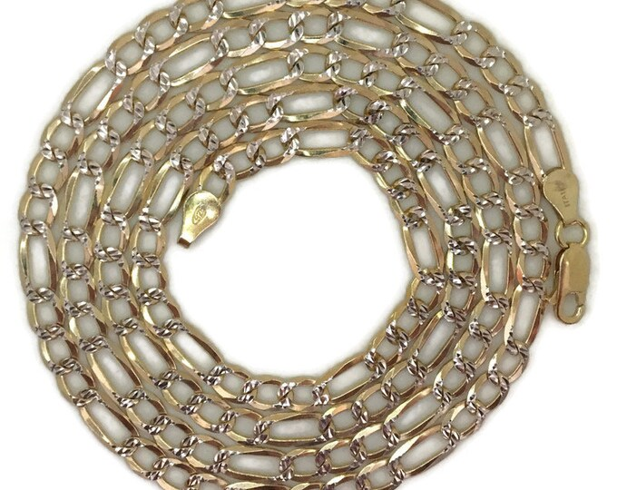 Yellow gold layer on silver necklace thick diamond cut figaro chain