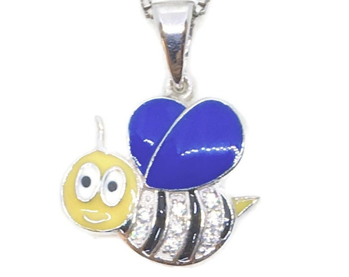 Brand New White Gold on 925 Sterling Silver Pendant Cute Bee with small white CZ with free chain ( 15 . 4 mm )
